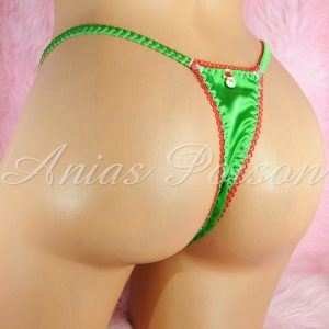 CHRISTMAS COLLECTION! Satin lace shiny satin string LADIES triangle T thong panties